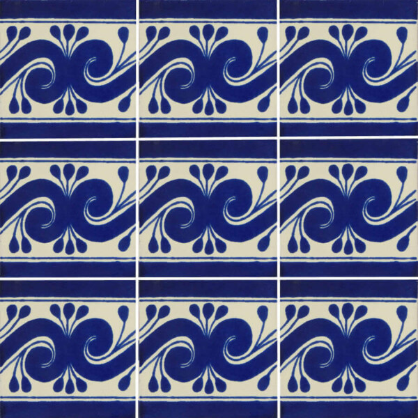 blue gusano mexican talavera tile are handmade and painted in mexico
