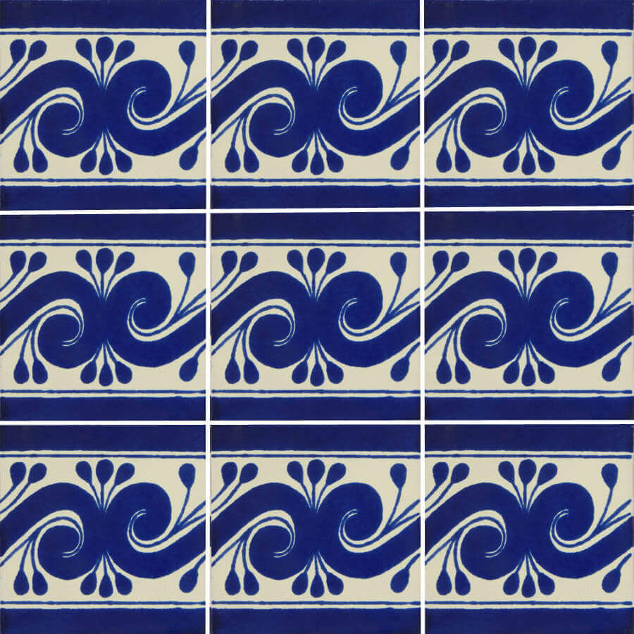 Blue Gusano Mexican Talavera Tile