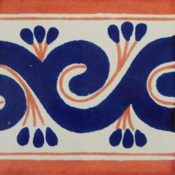 Blue Terracotta Greca Mexican Talavera Tile