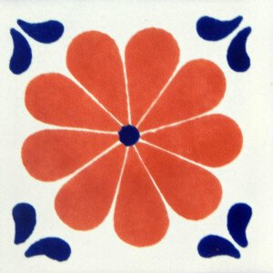 Amapola Terracotta Blue Corners Mexican Ceramic Tile