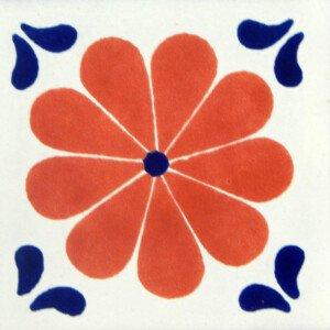 Amapola Terracotta Blue Corners Mexican Ceramic Tile