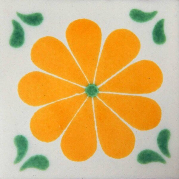 Yellow Amapola Green Corners Mexican Ceramic Tile