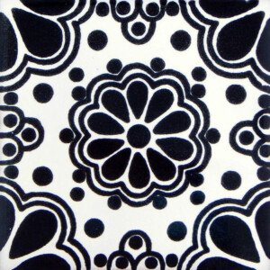 Black Lace Mexican Ceramic Tile