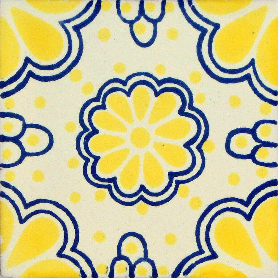 Yellow Lace 1 Mexican Ceramic Tile