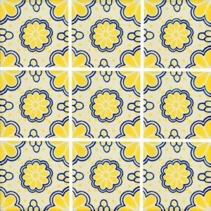 Yellow Lace Blue Points Mexican Ceramic Tile