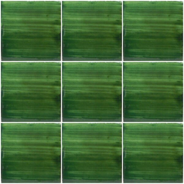 Brushed Green Mexican Ceramic Tile Are Handmade And