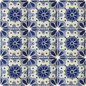 Blue Lace 8 Mexican Ceramic Talavera Tile