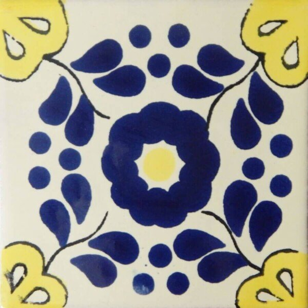 Blue Yellow Hacienda 4 Mexican Ceramic Talavera Tile