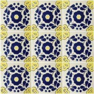 Blue Yellow Hacienda 4 Mexican Ceramic Talavera Tile