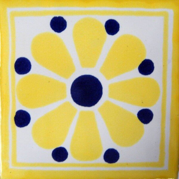 Daisy May Yellow Mexican Ceramic Tile