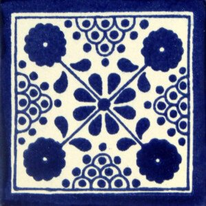Blue Damasco Mexican Ceramic Talavera Tile