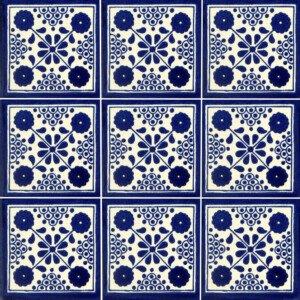 Blue Damasco Mexican Ceramic Talavera Tile