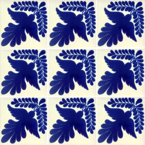 Blue Guia Fly Mexican Ceramic Talavera Tile