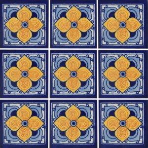 Flor Arabe Mexican Talavera Tile