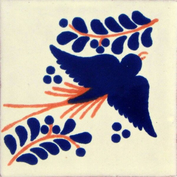 Terracotta Blue Dove Mexican Talavera Tile