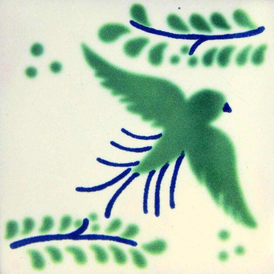 Green Blue Dove Mexican Talavera Ceramic Tile
