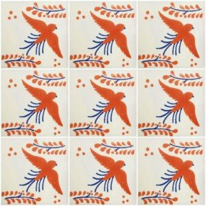 Terracotta Blue Dove Mexican Talavera Ceramic Tile 3
