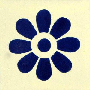 Blue Daisy Mexican Ceramic Tile