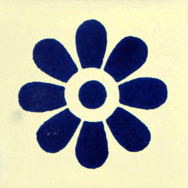 Blue Daisy Mexican Ceramic Tile