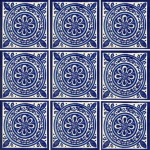 Blue Medallon Mexican Ceramic Tile
