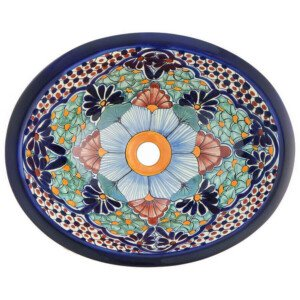 Portugues Blue Bathroom Ceramic Oval Talavera Mexican Sink