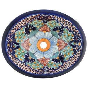 Portugues Blue Bathroom Ceramic Oval Talavera Mexican Sink