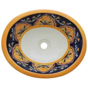 Cupula Mexican Bathroom Ceramic Oval Talavera Sink