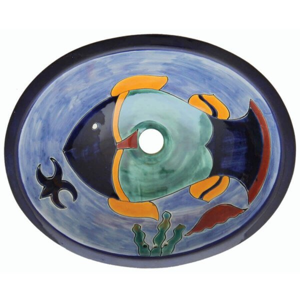 Cancun Fish Bathroom Ceramic Oval Talavera Mexican Sink