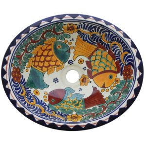 Manzanillo Fish Bathroom Ceramic Oval Talavera Mexican Sink
