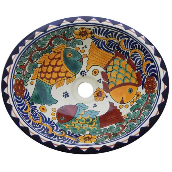 Manzanillo Fish Bathroom Ceramic Oval Talavera Mexican Sink
