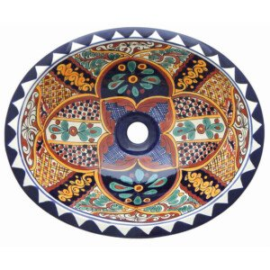 Ilusion Mexican Bathroom Ceramic Oval Talavera Sink