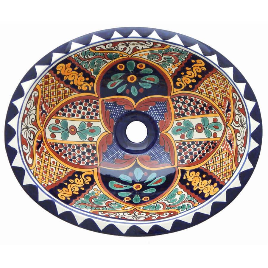 Ilusion Mexican Bathroom Ceramic Oval Talavera Sink