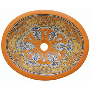 Mazatlan Yellow Talavera Mexican Sink Bathroom Ceramic Oval