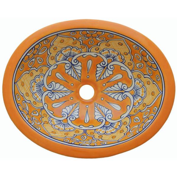Mazatlan Yellow Talavera Mexican Sink Bathroom Ceramic Oval