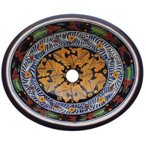 Rebozo Mexican Bathroom Ceramic Oval Talavera Sink
