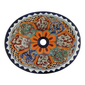 Santa Clara Mexican Bathroom Ceramic Oval Talavera Sink