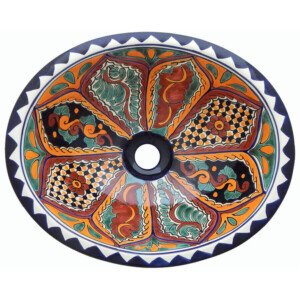 Tepic Bathroom Ceramic Oval Talavera Mexican Sink