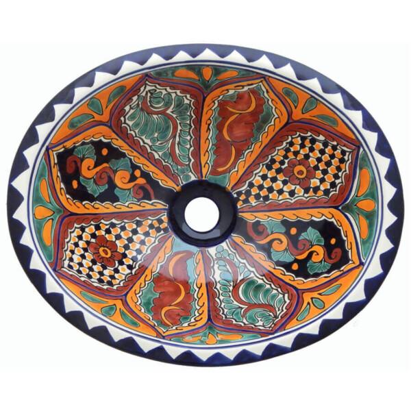 Tepic Bathroom Ceramic Oval Talavera Mexican Sink