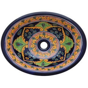 Tula Mexican Bathroom Ceramic Oval Talavera Sink