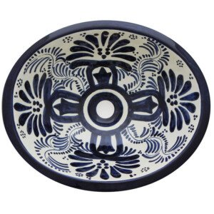 Veronica Mexican Bathroom Ceramic Oval Talavera Sink