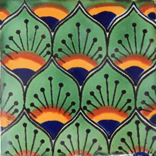 Pavo Green Mexican Talavera Decorative Tile