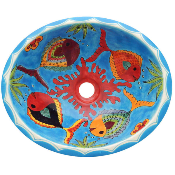 Rosarito Fish Bathroom Ceramic Oval Talavera Mexican Sink