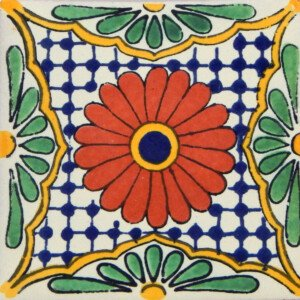 Flor de Pascua Mexican Decorative Folk Art Tile