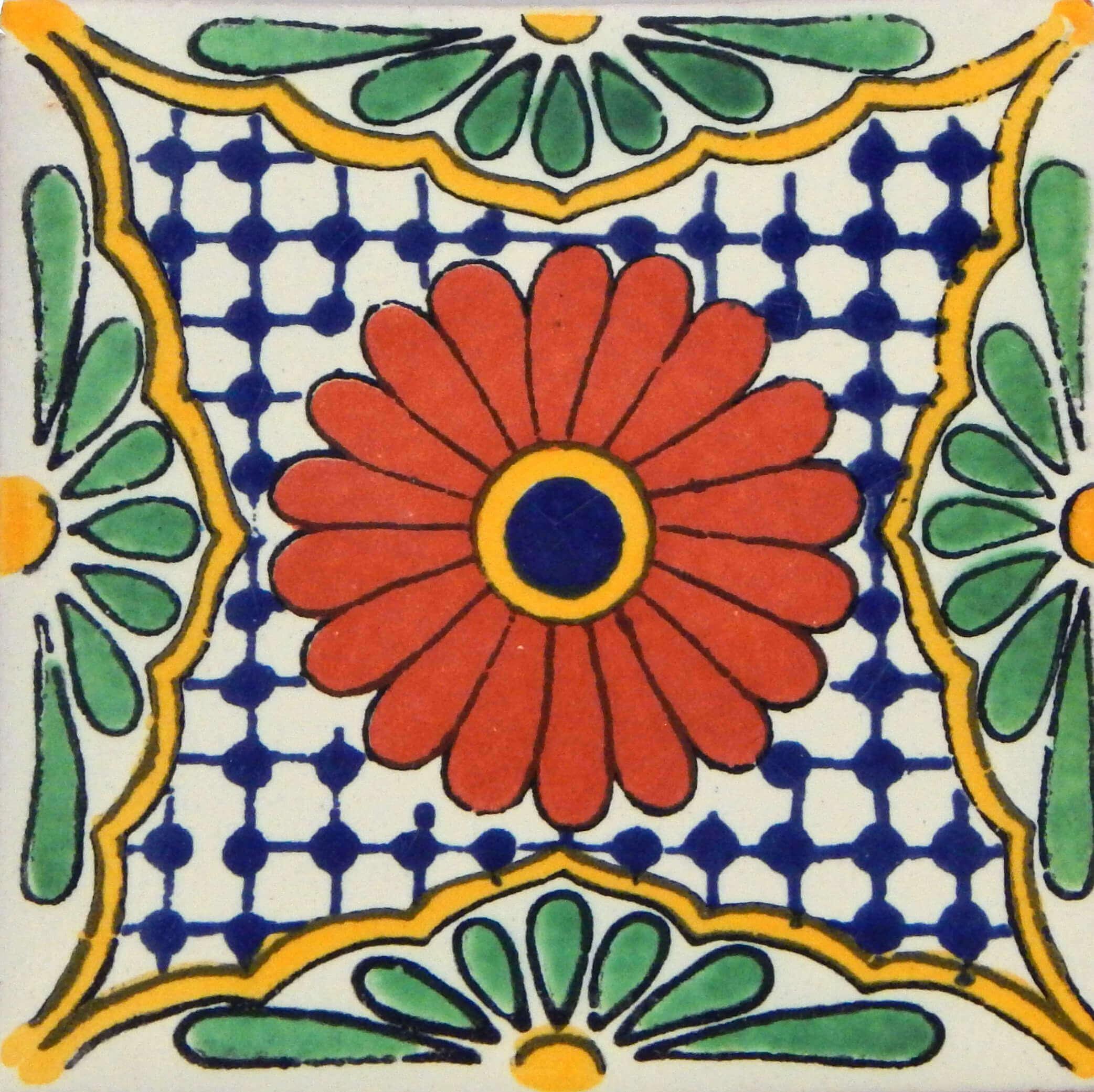 Flor de Pascua Mexican Decorative Folk Art Tile