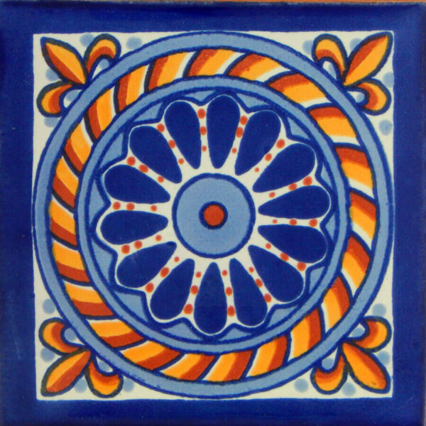 Cuerda Blue Mexican Talavera Decorative Tile