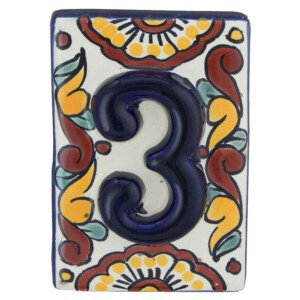 Mexican Hand painted Folk Art High Relief Number Tile