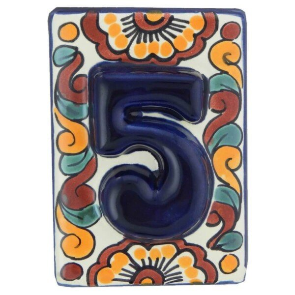 Mexican Folk Art Hand made Decorative High Relief Number Tile