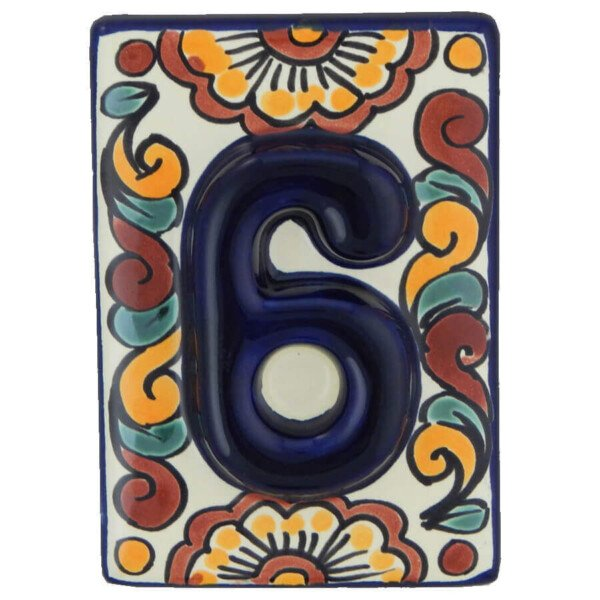 Mexican Ceramic Hand Painted High Relief Number Tile