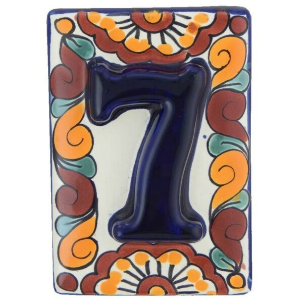 Mexican High Relief Decorative Hand Made Number Tile