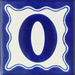 Mexican Talavera Decorative Blue Number Tile